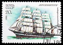 Vier-Masted bark Krusenstern, Kadet Varende Vloot van de USSR serie, circa 1981 royalty-vrije stock foto