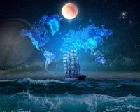 Vier-Masted schors in de oceaan, door het maanlicht wordt aangestoken dat Geographica royalty-vrije stock afbeelding