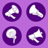 Vier megafoon vlakke pictogrammen Royalty-vrije Stock Foto