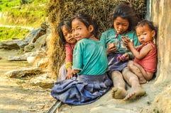 Vier meisjes in Nepal Royalty-vrije Stock Foto