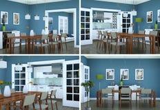 Vier meningen van eetkamer binnenlands ontwerp in moderne flat Stock Afbeeldingen