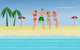 Vier mensen lopen op het strand aan het overzees op een gelukkige vakantie royalty-vrije illustratie