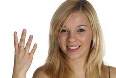 Vier met vinger Royalty-vrije Stock Foto