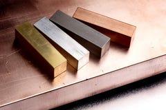 Vier metalen royalty-vrije stock fotografie