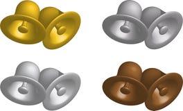 Vier Metallglocken Stockbilder