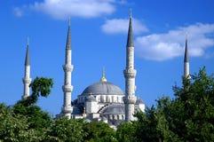 Vier minaretten van Blauwe Moskee stock foto's