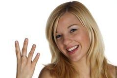 Vier mit dem Finger Stockfoto