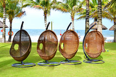 Vier moderne bamboeschommeling dichtbij het strand Stock Foto