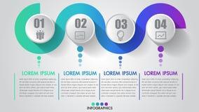 Vier moderne creatief stappen van de bedrijfsinfographicschronologie met pictogram kan stap voor stap vector illustreren een stra Royalty-vrije Stock Afbeelding