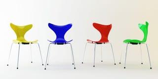 Vier moderne stoelen Royalty-vrije Stock Fotografie