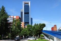 Vier moderne wolkenkrabbers in Madrid, Spanje stock afbeelding