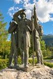 Vier moedige mensen van Bohinj - de eerste mensen op Triglav Stock Afbeelding