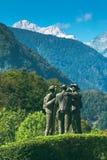 Vier moedige mensen van Bohinj - de eerste mensen op Triglav Royalty-vrije Stock Foto