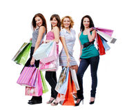 Vier mooie meisjes met de zakken Stock Foto's