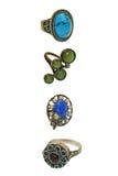 Vier mooie uitstekende ringen royalty-vrije stock foto's