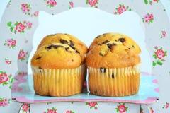 Vier Muffins mit Schokolade auf dem Stand stockfotografie