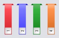 Vier multi-colored linten voor het plaatsen van de tekstinformatie Royalty-vrije Stock Fotografie
