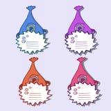 Vier multi farbige Monster mit Zeichen Stockfoto