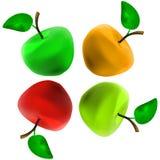 Vier multicolored Apple Royalty-vrije Stock Afbeeldingen