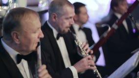 Vier Musiker im Restaurant stock video
