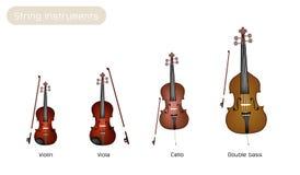 Vier Musikinstrument-Schnüre auf weißem Backgroun Stockbild