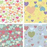 Vier Muster für Valentinstag Stockbild