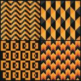 Vier Naadloze abstracte geomatric patronen van pixelhalloween Royalty-vrije Stock Foto