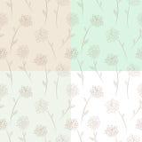 Vier naadloze bloemenpatroonreeks Stock Afbeeldingen