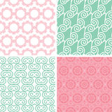 Vier naadloze motieven van de pastelkleur abstracte werveling stock illustratie
