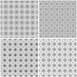 Vier naadloze netwerkpatronen met krullende lijnen Vector Illustratie