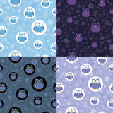 Vier naadloze patronen met uilen Royalty-vrije Stock Afbeeldingen