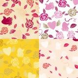 Vier naadloze patronen van Valentine Royalty-vrije Stock Afbeelding