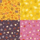 Vier naadloze patronen van Valentine Stock Afbeeldingen