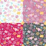 Vier naadloze patronen van Valentine Stock Foto