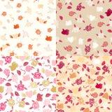 Vier naadloze patronen van Valentine Stock Afbeelding