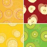 Vier nahtlose Muster der Frucht Lizenzfreies Stockfoto