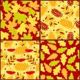 Vier nahtlose Muster des Herbstes Stockbild