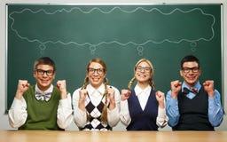 Vier nerds zeggen JA Royalty-vrije Stock Foto's