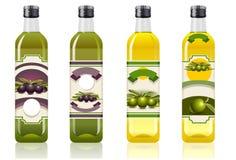 Vier Olivenölflaschen Stockbild