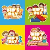 Vier ontwerpaffiche voor kid& x27; s dag royalty-vrije illustratie
