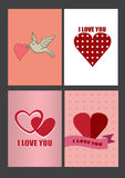 Vier Ontwerpen voor de Groetkaarten van de Valentijnskaartendag en Affiches Royalty-vrije Stock Foto's