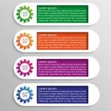 Vier opties van infographics met kleurrijke toestellen Stock Afbeeldingen