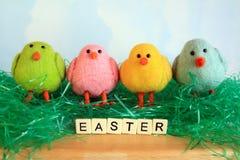 Vier Ostern-Küken, die in grünem Ostern-Gras sitzen stockfotografie