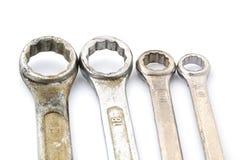Vier oude doosmoersleutels Royalty-vrije Stock Afbeelding