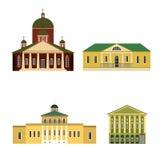 Vier oude gebouwen Royalty-vrije Stock Foto