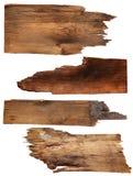 Vier oude houten die raad op een witte achtergrond wordt geïsoleerd Oude houten plank stock fotografie