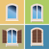 Vier overspannen vensters over gipspleisterachtergrond vector illustratie