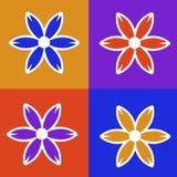 Vier Panel-bunte Blumen-Abbildung Stockbild