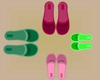 Vier paren schoenen stock foto's