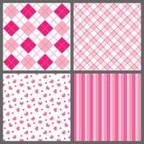 Vier Patronen van de Valentijnskaart Stock Afbeelding